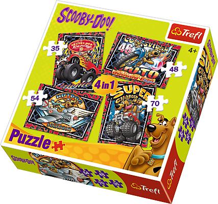 Trefl 34257: Puzzle 4w1 - Przygody Scooby Doo