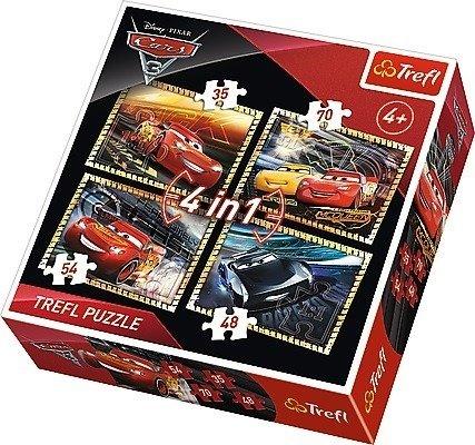 Trefl (34276): Puzzle 4w1: Gotowi do wyścigu, Cars 3